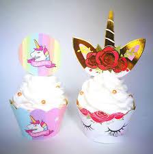<b>Hot Sale</b> Toppers <b>Cartoon</b> Rainbow Unicorn Cupcake Cake Baking ...