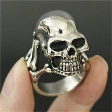 Rings Jewelry LINSION <b>Vintage Skull</b> Ring Stainless Steel Blue CZ ...