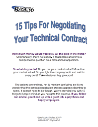 tips for negotiating your technical contract base 15 tips for negotiating your technical contract