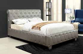 herault tufted leatherette bed with bluetooth acrylic bedroom furniture