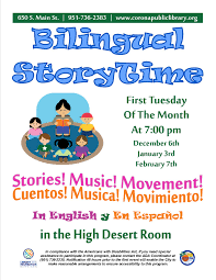 storytimes at corona public library here is the link to the flyer through 2017
