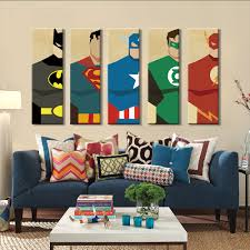 Superman <b>Canvas Painting 5 Pieces</b> Superhero Modern Home Wall ...