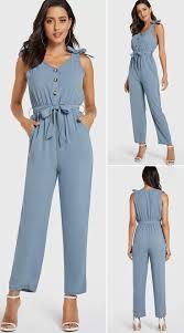 <b>Blue Belt</b> Design Front <b>Button</b> Sleeveless Jumpsuit - US$22.99 ...