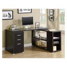 lavish tempered glass office desk stainless modern black wooden office desk decor with brown varnished top black shaped office desks