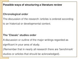 Inverted pyramid order      Possible ways of structuring a literature review Chronological     SlideShare