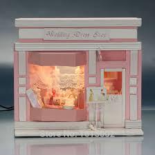 cheap diy 3d model building puzzle miniature doll house wedding dresss shop pink dollhouse furniture toys cheap doll houses with furniture