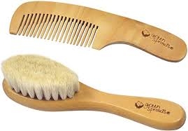 Green Sprouts <b>Baby</b> Wooden <b>Brush and Comb</b> Set, Natural ...