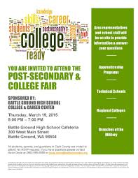 battle ground high school hosts college fair battle ground for the transition into careers and post secondary education which is an important step for long term success clark county students and families from