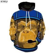 2019 <b>KYKU</b> Brand <b>Monkey Sweatshirts</b> Men Graffiti Hoodes <b>3d</b> ...