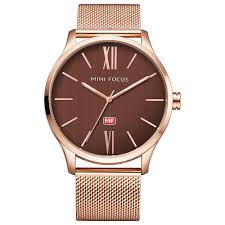 <b>MINI FOCUS</b> MF0018G Men Quartz Watch Stainless Steel <b>Rose Gold</b>
