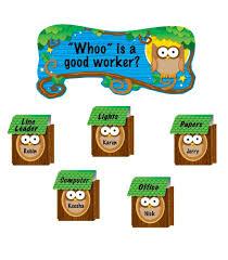 owl job assignment bulletin board set grade pk carson dellosa owl job assignment bulletin board set