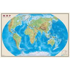 """<b>Карта</b> """"<b>Мир</b>"""" <b>физическая DMB</b>, 1:25млн., 1220*790мм"""