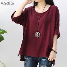 Shop Zanzea ZANZEA <b>Women Round Neck Oversized</b> T-Shirt ...