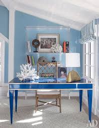gallery of bright office room design ideas with two windows so make light can brighten every corner of the room that have dominant color of blue and white blue office room design