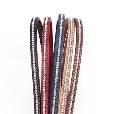 6MM Flat PU Leather Cord/Crystal Rhinestone Rope/<b>Jewelry</b> ...
