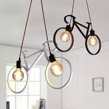 <b>Retro Nordic Modern</b> Iron <b>Bicycle</b> Chandelier Cafe Lighting LED Loft ...