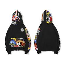 <b>Bape</b> Mens Designer Jacket Fashion <b>BAPE</b> Mens <b>Shark Printing</b> ...