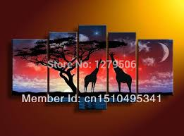 <b>100</b>% <b>Hand Painted Oil Painting</b> On Canvas Starry Night Africa ...