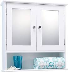 LIVIVO Double Mirror Door Bathroom Cabinet – <b>Elegant White</b> ...