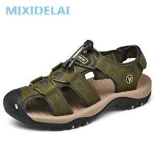 <b>MIXIDELAI Genuine Leather</b> Men's Shoes Summer Men's Sandals ...