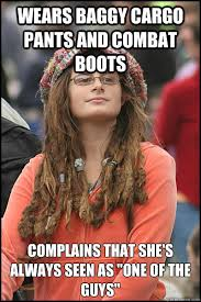 wears baggy cargo pants and combat boots complains that she's ... via Relatably.com