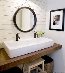 dual vanity bathroom: no room for a double sink vanity try a trough style sink with two faucets