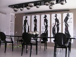 black and white dining table set: modern dining room design black theme with long black dining table set and round back chairs