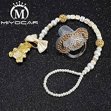 MIYOCAR beautiful gold bling bear pacifier clip ... - Amazon.com