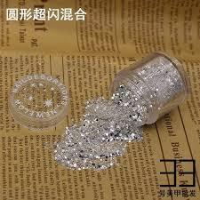 <b>10g</b>/<b>box</b> 1mm Hexagon Silver Nail Glitter Dust <b>Fine</b> Mix 3D Nail ...