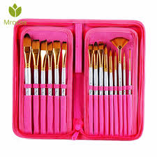 <b>15PCS Nylon</b> Hair Artist Paint <b>Brushes</b> Palette Knife Sponge Set ...