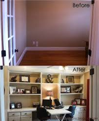 home office with built ins and cabinets add baskets boxes magazine racks to add home office