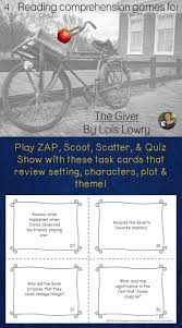 best ideas about the giver lois lowry book play zap scoot scatter and quiz show to review setting characters plot