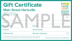 gift certificates main street hartsville main street hartsville gift certificates msh gift certificate web sample
