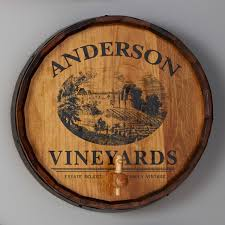 wood sign glass decor wooden kitchen wall: personalized quarter barrel head sign with spigot vineyard graphic