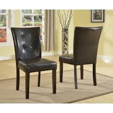 black leather parsons dining chairs