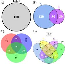 the four types of venn diagrams drawn by the venndiagram    context