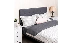 Tufted <b>Linen Fabric Upholstered</b> Queen&Full Size Headboard ...