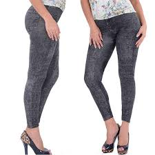 Hot Product Lady Black Sexy Faux <b>Jean Skinny Jeggings</b> Stretchy ...