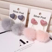 <b>Sweet Cute</b> Love Heart Mink Hair Ball <b>Earrings</b> Female <b>Korean</b> ...