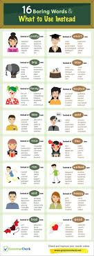 best images about grammar check infographics 16 boring words what to use instead infographic
