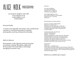 making a cv alice volk visual explorer photographer photography cv curriculum vitae