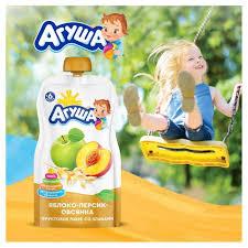 Купить <b>Пюре фруктовое</b> «<b>Агуша</b>» яблоко персик овсянка с 6 мес ...