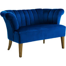 iris plush navy velvet settee w channel tufting antique finish wood legs channel tufted furniture