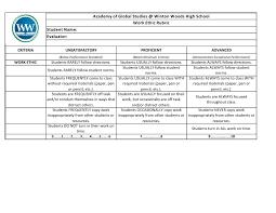 AGS Work Ethic Rubric AGS Work Ethic Rubric. Academy of Global Studies @ Winton Woods High School ...