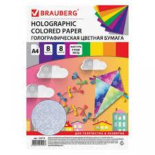 <b>Brauberg Цветная бумага</b> Звезды голографическая А4 8 листов 8 ...