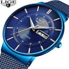 Quartz Clock <b>LIGE Mens Watches Top</b> Brand Luxury – denesi.lv