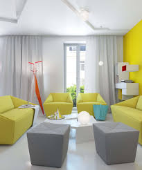 modern living room with yellow color square gray fabric ottoman yellow fabric sofa sets round white bright yellow sofa living