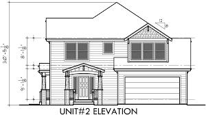 Duplex House Plans  Corner Lot Duplex House Plans  D  House side elevation view for D  Duplex house plans  corner lot duplex house