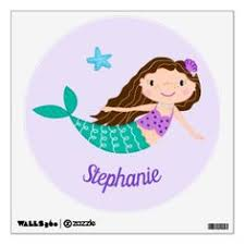 <b>Cute Mermaid</b> Personalized Purple <b>Wall</b> Decal | Zazzle.com | <b>Cute</b> ...