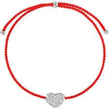<b>Wanna?Be! Красный браслет</b>-<b>нить</b> «Сердце» с серебряной ...